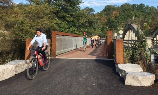 Mayor Tory riding over Pottery Road bridge